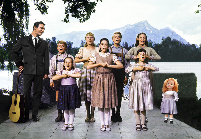 My screen test outside on the patio with the rest of the cast of The Sound of Music.