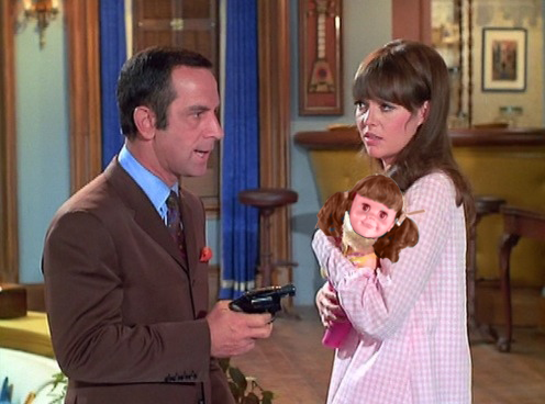 On the set of Get Smart, screen-testing for the role of baby Tina Smart, with Don Adams (Maxwell Smart, Agent 86) and the beautiful Barbara Feldon (Agent 99).